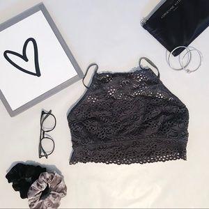 aerie Intimates & Sleepwear - 'Aerie' Hi Neck Dark Grey Boho Bralette